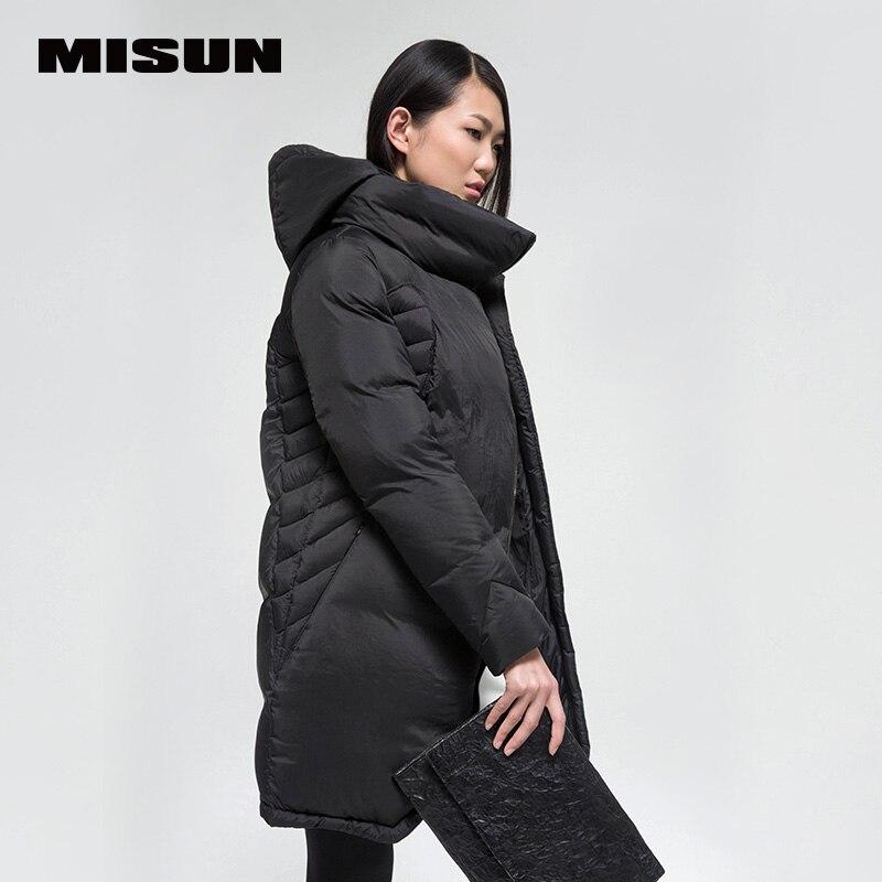 MISUN Женская одежда пуховики 2018 Стенд воротник средней длины с длинными рукавами YKK молния карманы утолщение пальто с капюшоном MSD G506
