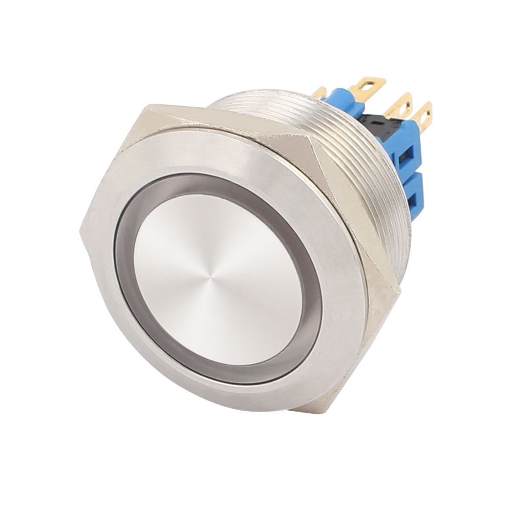 UL AC 250V 5A 30mm 1.18 Mounting Thread Flat Round 1NO 1NC DPST Latching SS Metal Waterproof Push Button Switch large illumination area ul panel light 4 x1 1200x300mm hanging recessed wall surface mounting no gare soft flat light