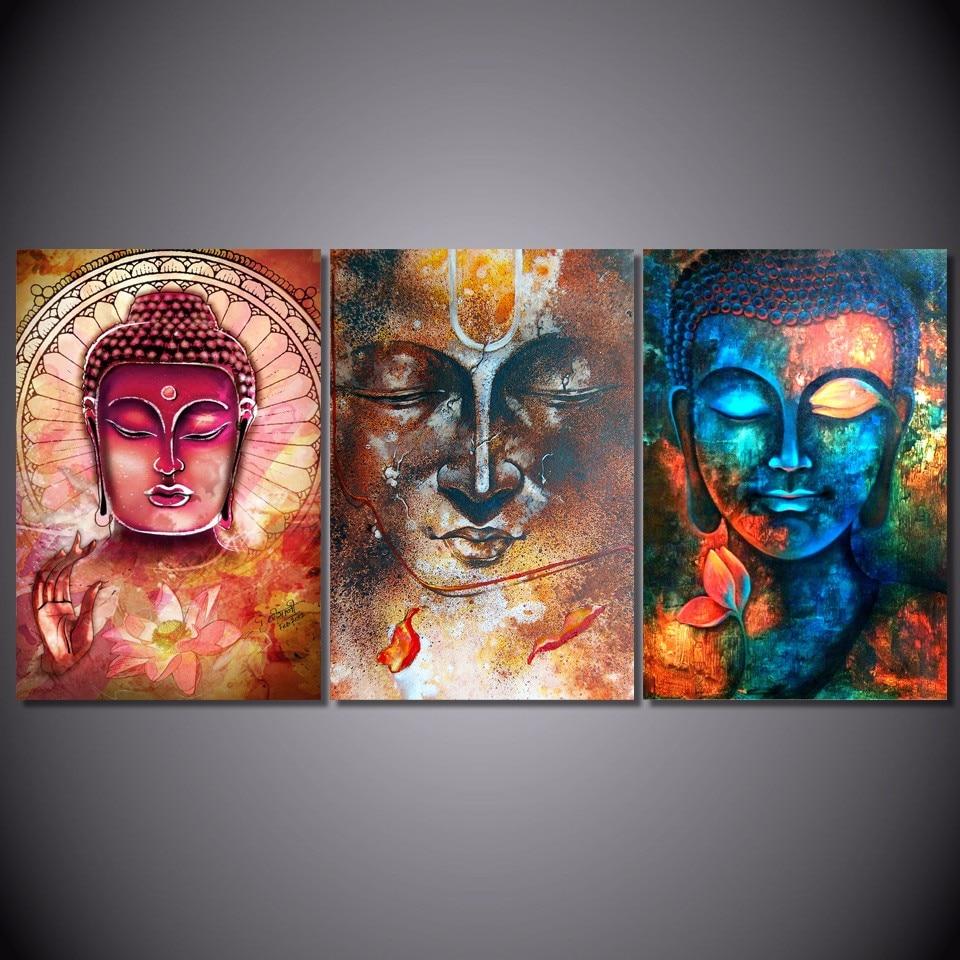 Buddha Leinwand Malerei Gerahmte Wand Bild Für Wohnzimmer 3 stücke ...