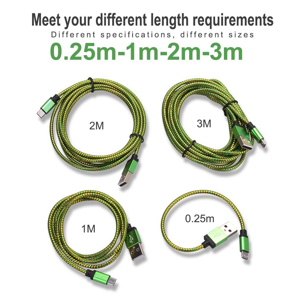 Micro USB kabel 1m 2m 3m Snabbladdning USB datakabel för Samsung S6 S7 Xiaomi 4X LG Tablet Android Mobiltelefon USB laddning