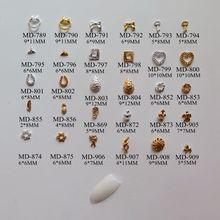 3D 50 шт./пакет различных звездных перо падение круг сердце U-shape форме, благодаря чему создается ощущение невесомости с бантом украшение ногтей металлические 3d деко