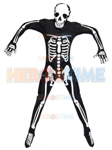 Halloween Black Ghost Skull Fancy Costume Adult Fullbody Carnival  Cosplay Costume