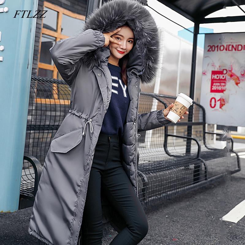 FTLZZ Women Winter Warm Long Cotton Parkas Snow Hooded Large Fur Collar Jackets Female Overcoat Thick