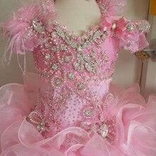 Модное розовое платье с цветочным узором для девочек бальное платье с рюшами, пышные платья для девочек роскошное детское платье для дня рождения, украшенное бисером, стразами, перьями