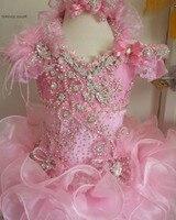 Модное розовое платье для девочек с цветами бальное платье с рюшами для девочек Нарядные платья роскоши из бисера/Crystal/перо дети День рожден