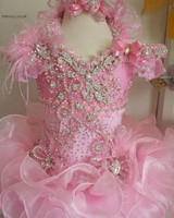 Fashion Pink Flower Girl Dress Ball Gown Ruffle Girls Pageant Dresses Luxuries Beaded/Crystal /Feather Kids Birthday Party Gown