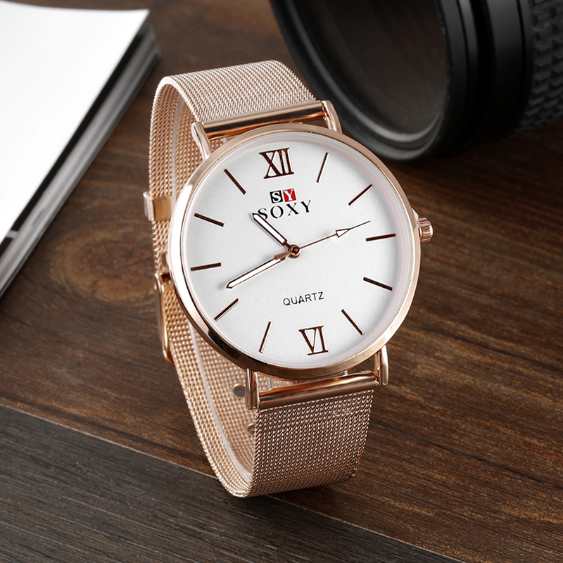 SOXY Top Brand Wrist Watch Women Watches Rose Gold Ladies Watch Ultra Thin Mesh Womens Watches Clock relogio feminino kol saati