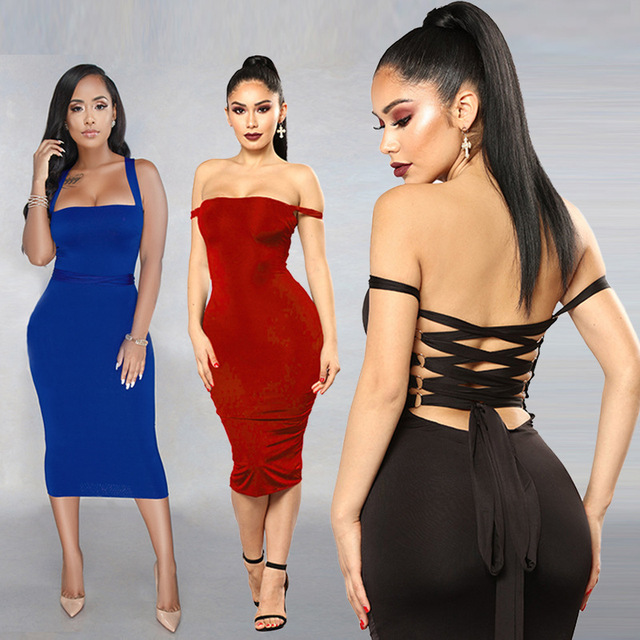 Europe and America Summer Women's Wear Sexy Shoulder Strap Tube Top Tight Dress