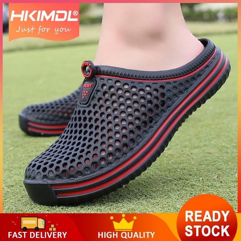 HKIMDL Men Slippers 2019 Message Clogs Outdoor Garden Shoes Male Pool Sandals Bathroom Flip Flops Lightweight Mules Beach Slides
