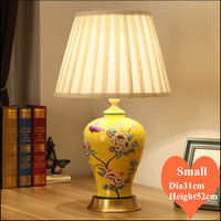 Chinese flower yellow ceramic art small Table Lamps Vintage Touch Switch fabric copper base E27 LED lamp for bedside&foyer MF061|Table Lamps| |  -