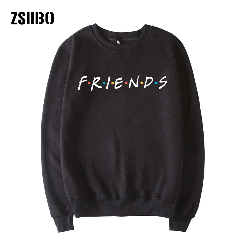 Friends Letter Fashion Long Sleeve Female Winter Large Size S-2XL Fun Loose Hooded Friends New Sweatershirt