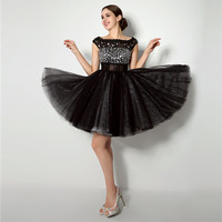 Sexy Black Cocktail Dresses A line Above Knee Tulle with Crystal Beads Cap Sleeve Scoop Neckline Girl's Graduation 2017