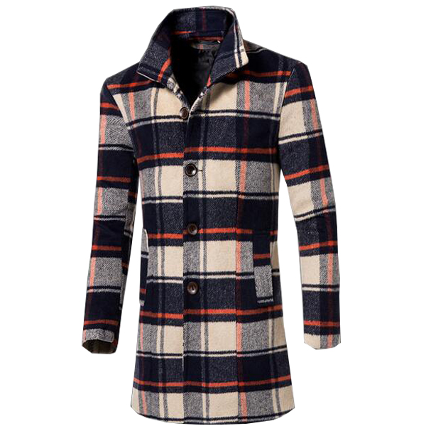 Completely new New Arrival Plaid Coat Casual Men Trench Coat 5 Colors Plus Size M  CN89