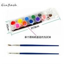 12 цветов с 2 красками, синие кисти в наборе, акриловые краски для масляной живописи, художественная одежда, цифровая настенная живопись AOA003