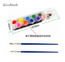 12 colors with 2 paint brushes per set acrylic paints for oil painting Nail art clothes art digital painting wall painting все цены