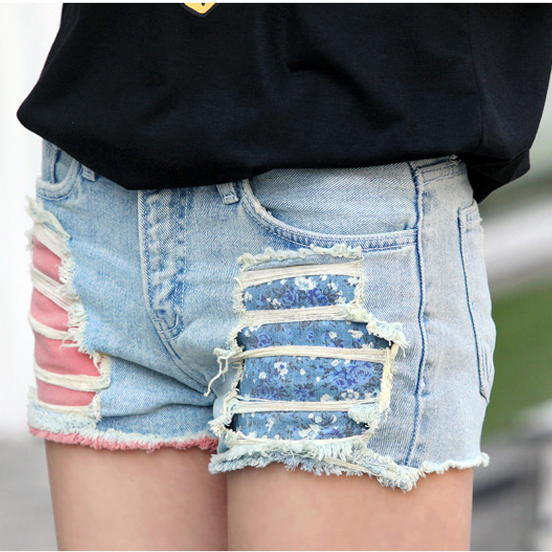 Vintage ripped hole fringe blue denim shorts women Casual pocket shorts 2016 summer girl hot short fashion sexy Jeans dc 12v 1 71a 700gf 6mm push type solenoid electromagnet ikejy