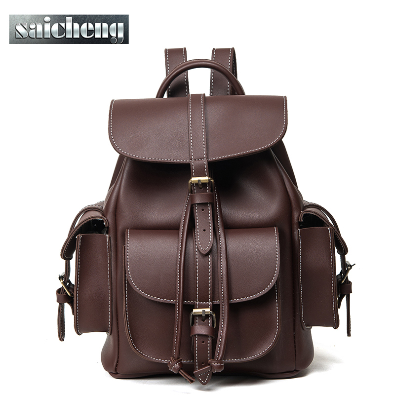 ФОТО 2016 Famous Brand Bag Women Backpack Famale England Style Designer High Quality Pu Leather Backpack Men Sac a Dos Black