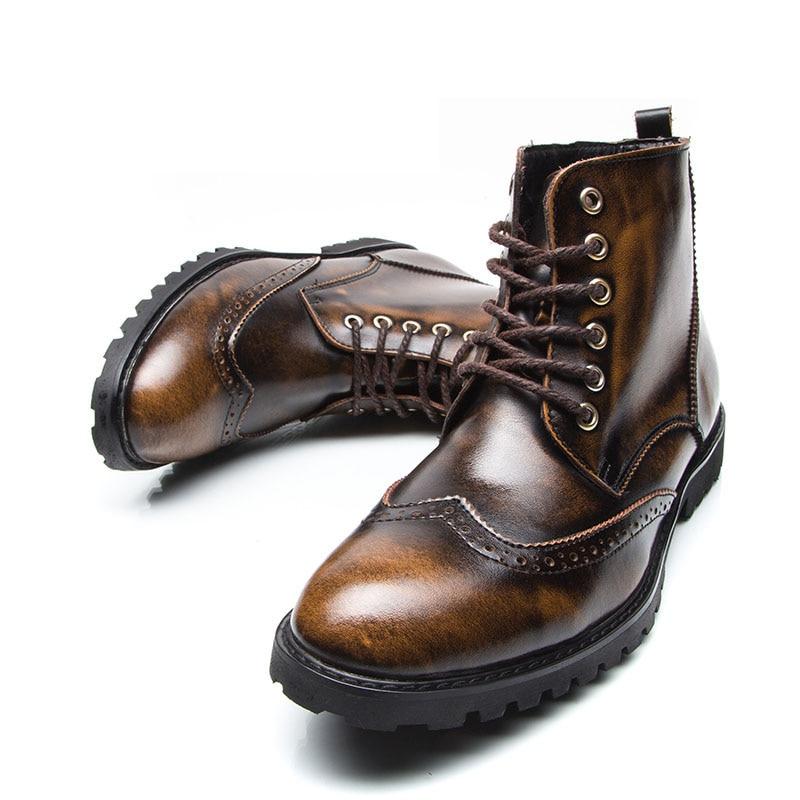 Cordones Moda Cuero Puntiagudos Genuino Casual Tobillo Martin Oxford 38 Vintage Brockden Vestido marrón Negro 100 44 Hombres Más Botas Zapatos 07q6O