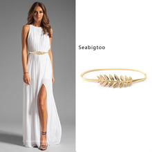Seabigtoo Leaves metal belts for women thin gold silver female ladies chain waist band high quality buckle