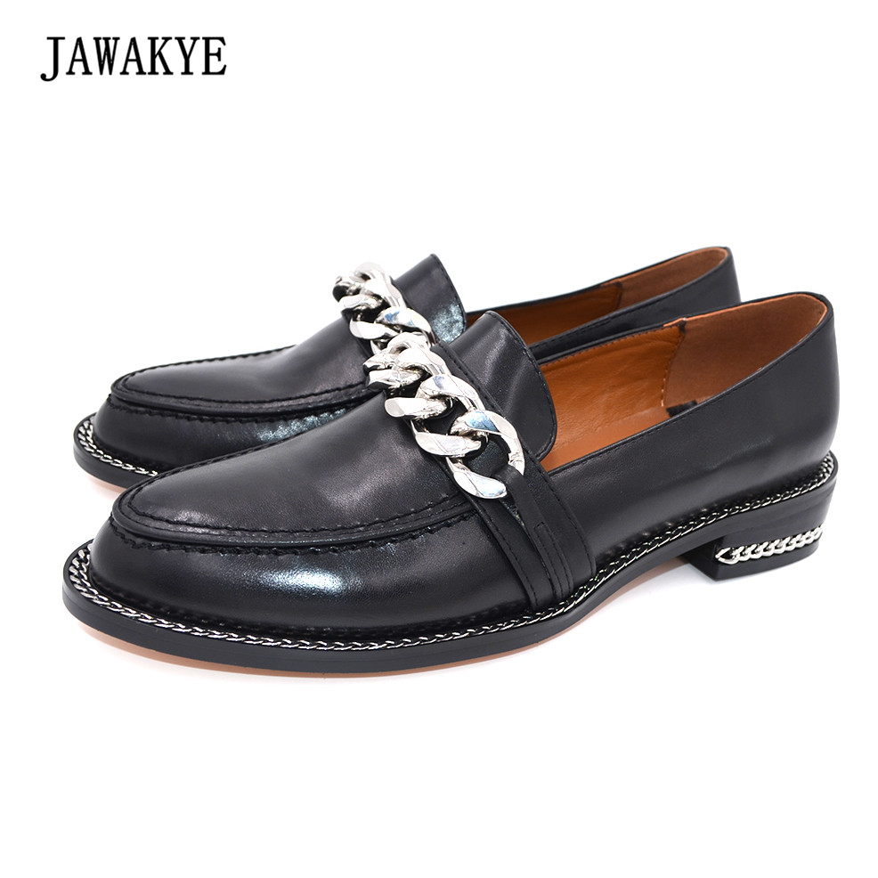 2018 Black Genuine leather Silver Metal Chains Flat Shoes Women Square low heel Round toe Slip on Loafers Shoes Woman JAWAKYE jawakye round toe silver chains studded ankle boots women flat heel genuine leather winter shoes motocycle boots for women