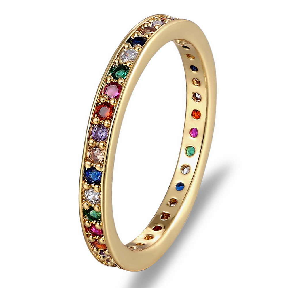 Colorful CZ Eternity Band Ring Thin Skinny Engagement Wedding Birthstone Rainbow Color Classic Simple Round Circle Finger Rings