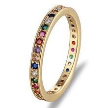 Anel de borracha colorida cz, anel de tira para eternidade, fino, para casamento, aniversário, cor do arco-íris, clássico, simples, redondo