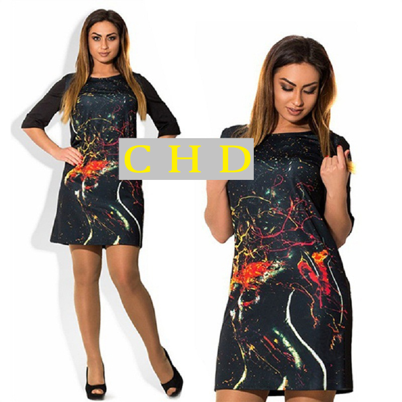 L 6xl Plus Size Bandage Dress 12 Sleeve Print Bodycon Dress New