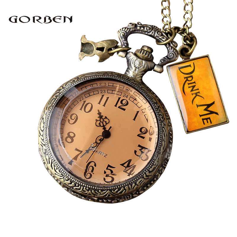Retro Quartz Pocket Watch DRINK ME Alice in Wonderland Glass Case Fob Pocket Clock Necklace Pendant Chain Relogio De Bolso Gifts fashion vintage pocket watch train locomotive quartz pocket watches clock hour men women necklace pendant relogio de bolso