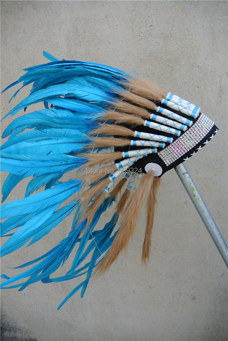 Turquoise indian feather headdress indian feather war bonnet native ...