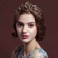 2017 New Vintage Gold Tiara Headband Baroque Crown Crystal Pearl Tiaras Crowns Hairband Wedding Hair Jewelry