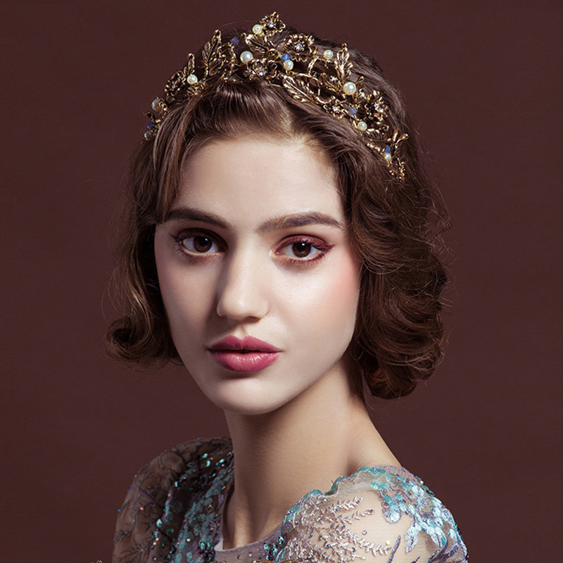 2019 New vintage gold tiara headband baroque crown crystal pearl tiaras crowns hairband wedding hair jewelry bridal accessories