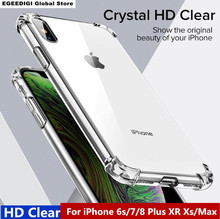 EGEEDIGI Case For iPhone 7 8 Plus Shockproof Back Cover X Xs Max Phone HD Clear Protective