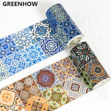 GREENHOW Vintage Blue and white brick Flower Tile wall Decorative Washi Tape DIY Planner Diary Scrapbooking Masking Tape 6007