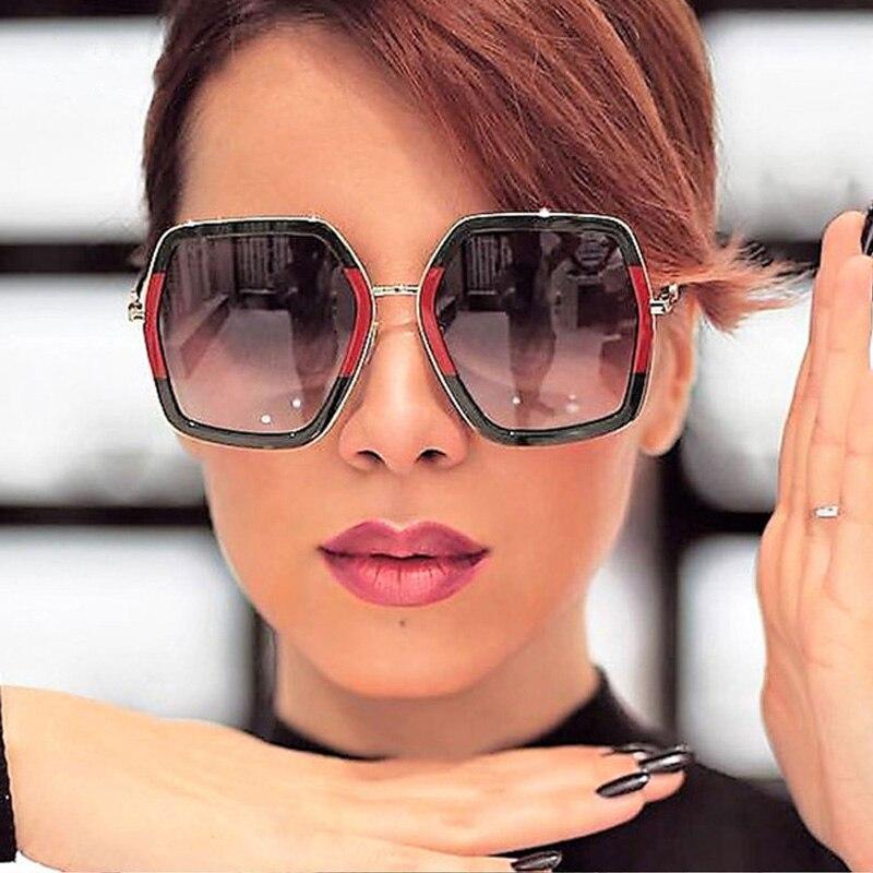 fff61e81dd4f5 Grande Brilhante óculos de Sol Para As Mulheres 2018 Nova Praça de Grandes  Dimensões G Vermelho