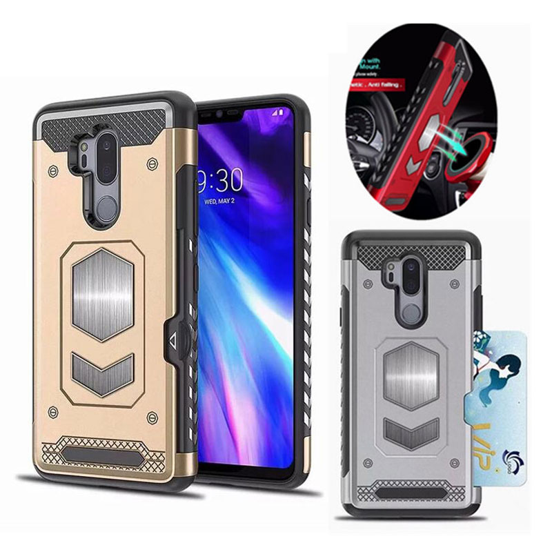 Card Slot Magnetic Armor Phone Case for LG Q8 V30 Cover Shockproof Hybrid Silicone PC Cover for LG <font><b>G6</b></font> G7 Q6 Shockproof Shell image
