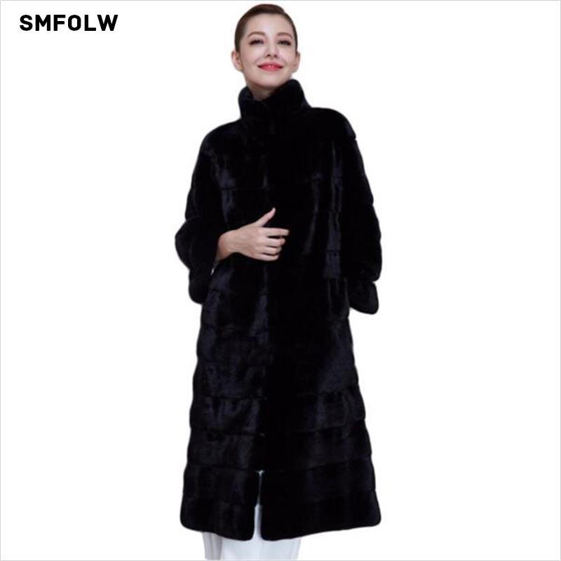 2017 Winter New Thick Warm Women Fur Coat High Quality Long Faux Rex Rabbit Fur Coat Black Parka Jacket Overcoat