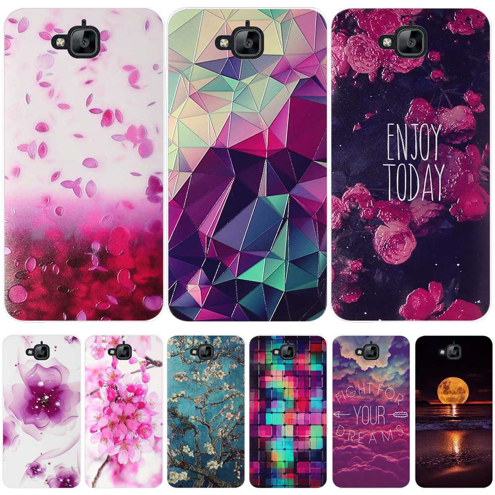 New Ultrathin Soft TPU Case for Huawei Honor Holly 2 Plus/Enjoy 5/Y6 Pro Flowers Daisy Plants Fruit Leaves pattern Phone Case 360 degrees