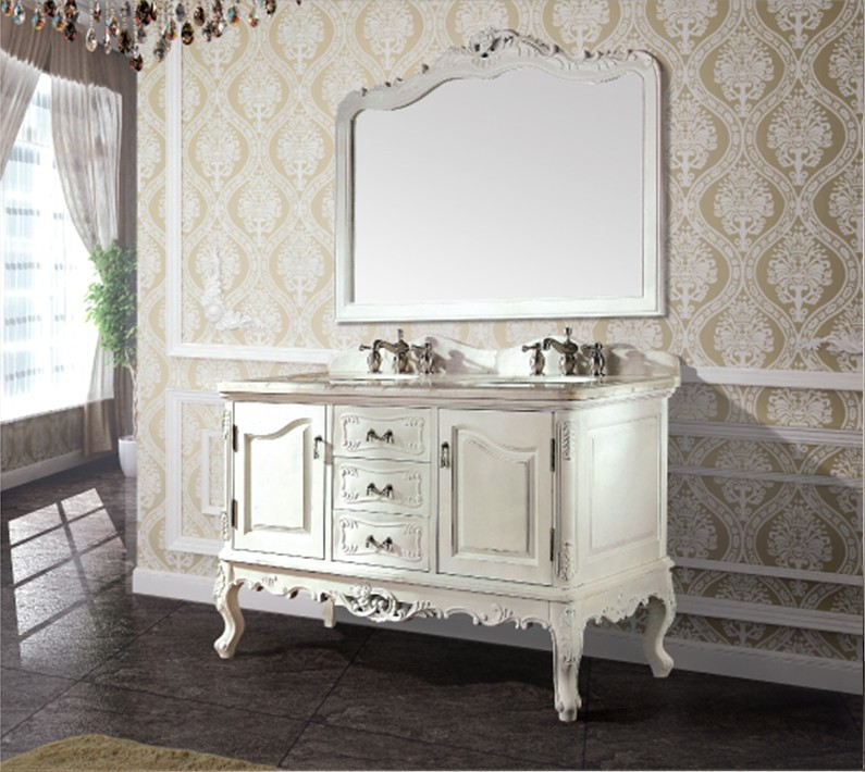 High quality antique bathroom cabinet  with mirror and sink classic bathroom vanity bathroom furniture