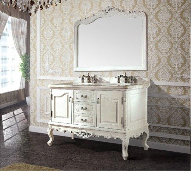 Alta calidad antiguo mueble de baño con espejo y lavabo clásico baño ...