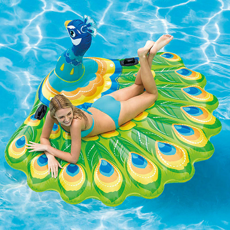 193cm Giant Inflatable Peacock Pool Float Ride-On Swimming Ring for Adult Children Air Mattress Beach Chair Lounger Water Toys ...