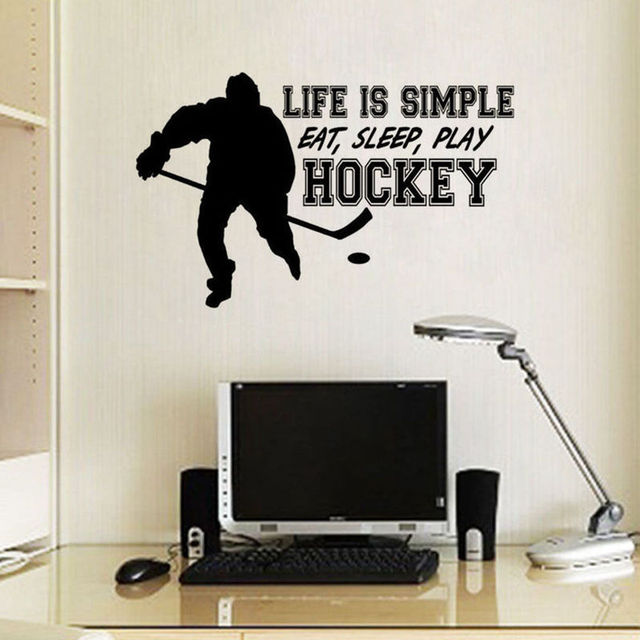 Life Is Simple Quote Wall Sticker Hockey Sport Wall Decor Hockey Player Decors