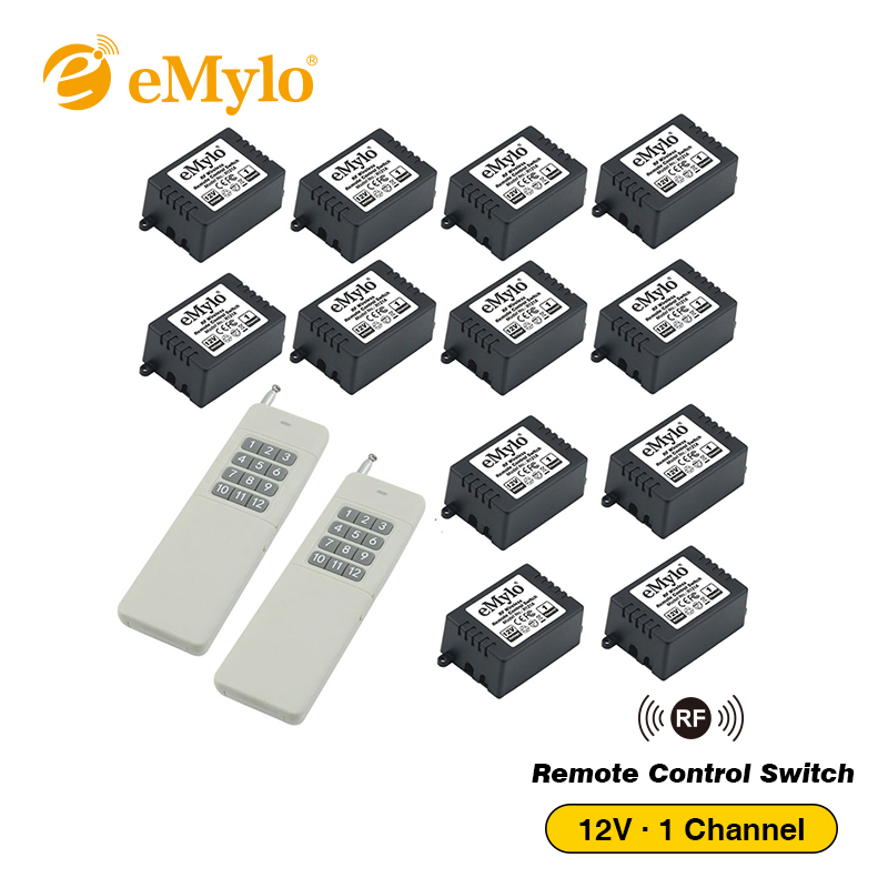 eMylo DC 12V RF 433Mhz Wireless Remote Control Smart Light Lamp Led Switch White Wide Range Transmitter 12X 1-Ch Relays Receiver цена