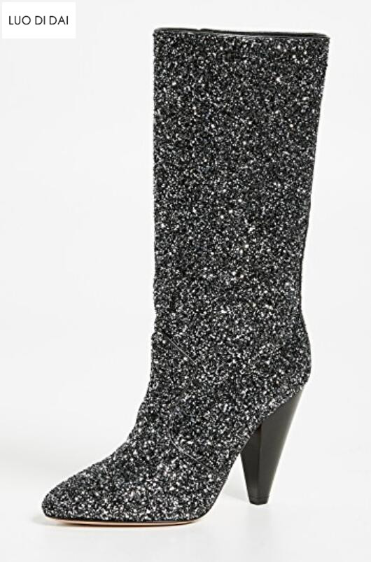 2018 new autumn women mid calf boots zip up glitter booties spike heel sequin leather boots ladies point toe black boots party sequin embroidered zip up jacket page 7