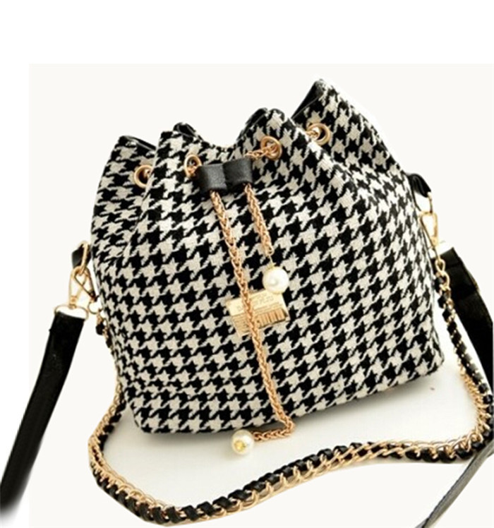 2016 Promotion Chains Bucket Bag Canvas Patchwork Houndstooth Messenger Bag Bolsas