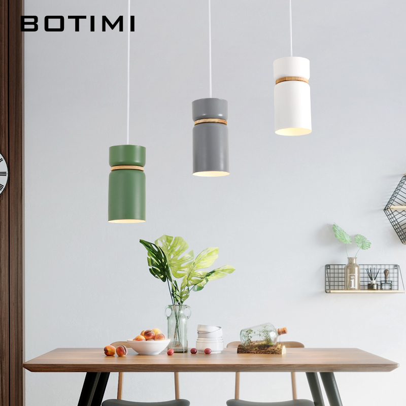 Us 39 2 30 Off Botimi Nordic Led Pendant Lights With Metal Lampshade For Dining Room Triple Wooden Pendant Lamp Restaurant Lustre Lighting In