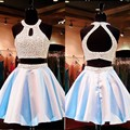 Sky Blue Halter Backless Beaded Two Piece Prom Dress Sexy Short Prom Dress For Girls Party Dress Homecoming Dress SPD01