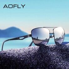 Мужские квадратные солнцезащитные очки AOFLY, брендовые дизайнерские очки с поляризационными металлическими линзами для вождения, AF8185