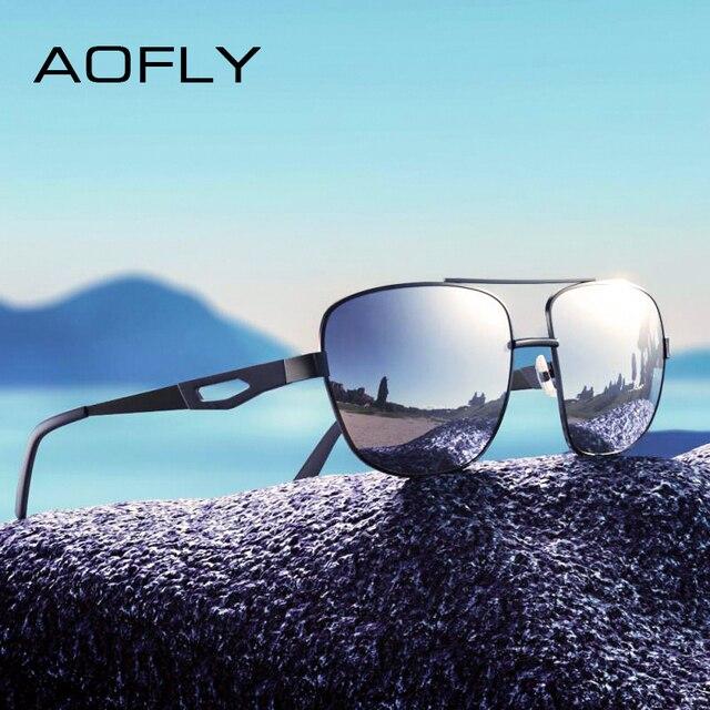 Aofly marca design masculino óculos de sol polarizados metal quadrado óculos de sol óculos de condução máscaras para masculino af8185