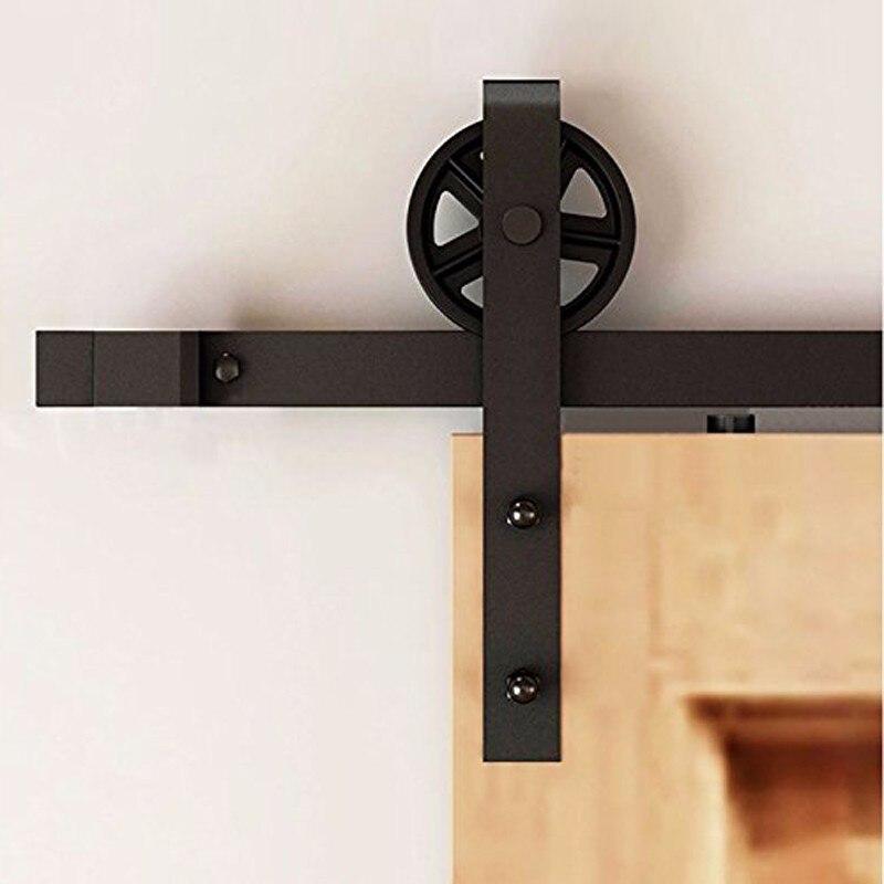 где купить 4-12FT Cheaper Single Rustic Black Sliding Door Sliding Barn Steel Interior The Wooden Door Accessories System Hardware On Rail дешево