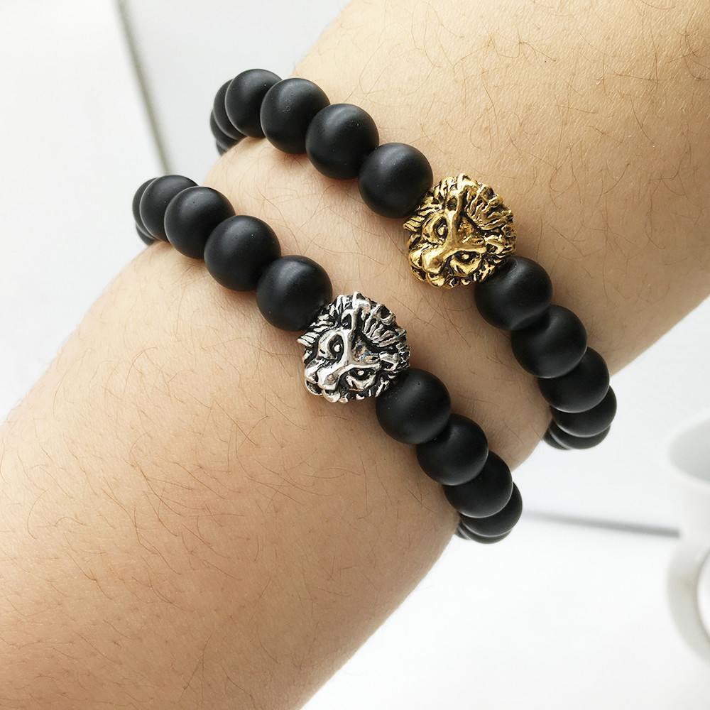 Free Shipping High Guality Lion Head Bracelet Men Black Matte Frosted Stone Bead Bracelets Stretchable Bracelet For Men Women